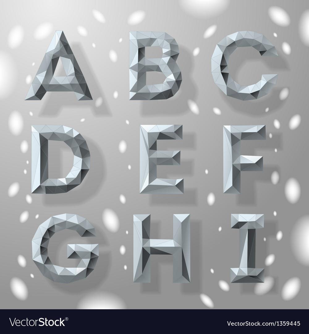 Trendy grey fractal geometric alphabet part 1 vector | Price: 1 Credit (USD $1)
