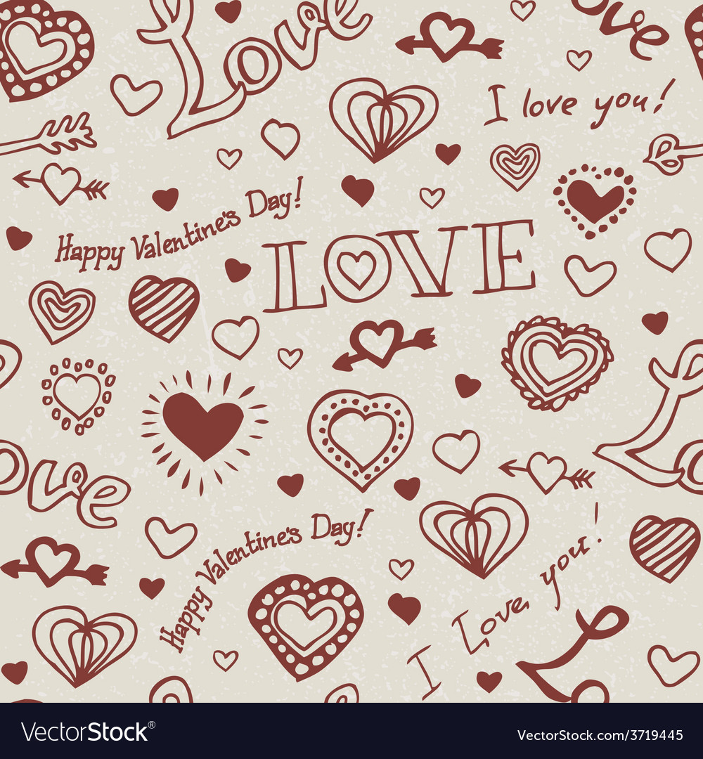 Valentine hand drawn pattern vector | Price: 1 Credit (USD $1)