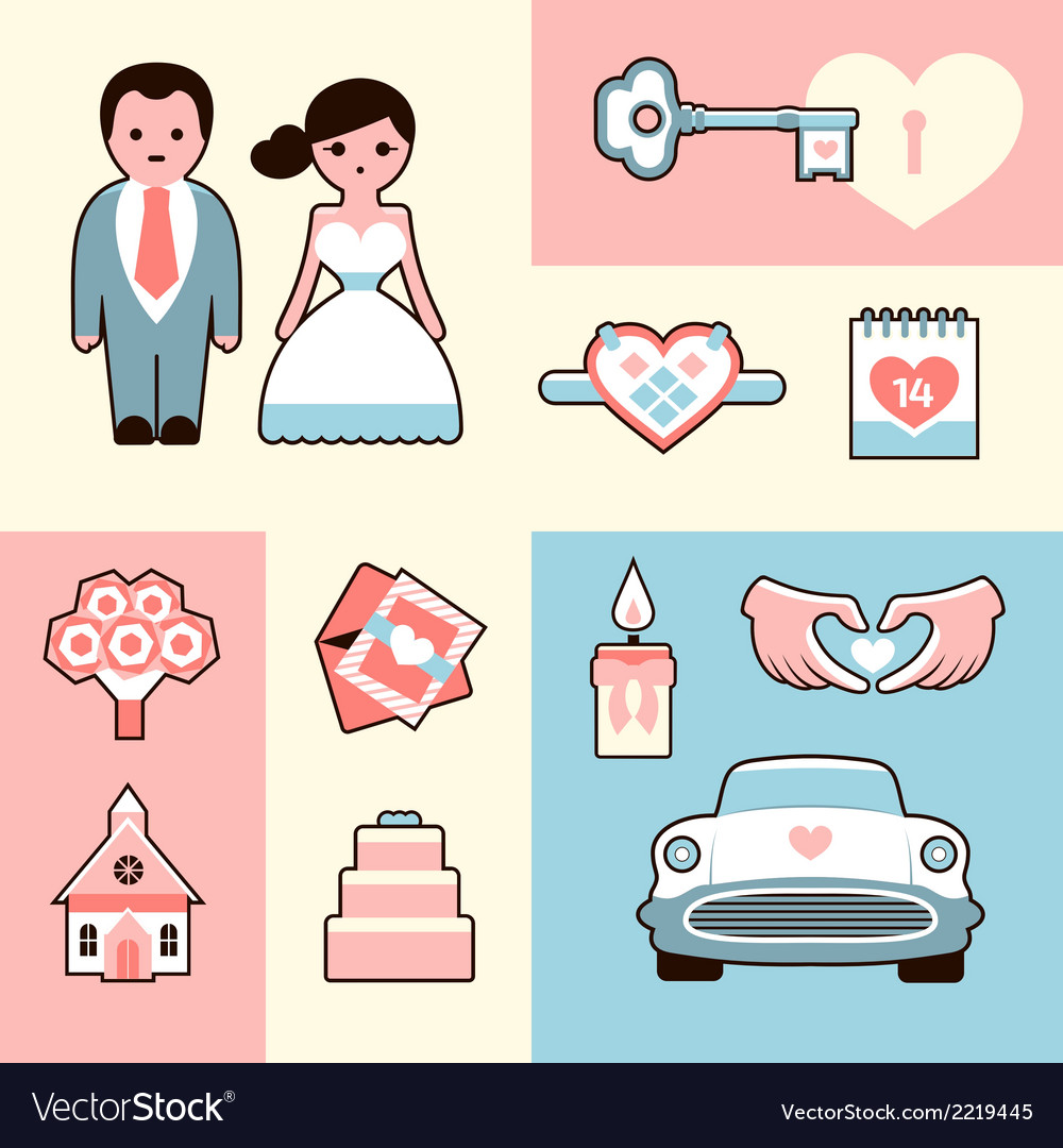 Wedding flat set vector | Price: 1 Credit (USD $1)