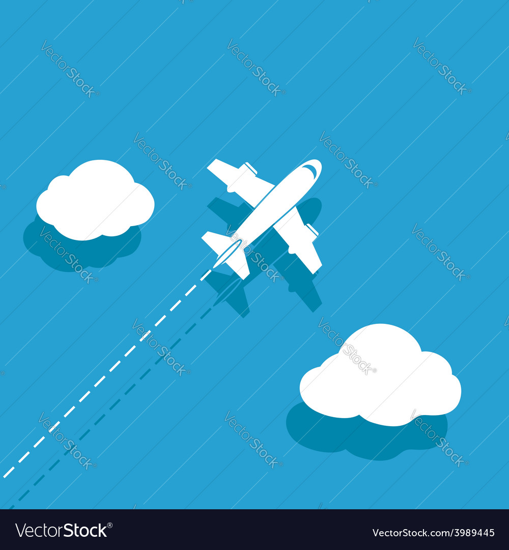 White airplane on a blue background vector | Price: 1 Credit (USD $1)
