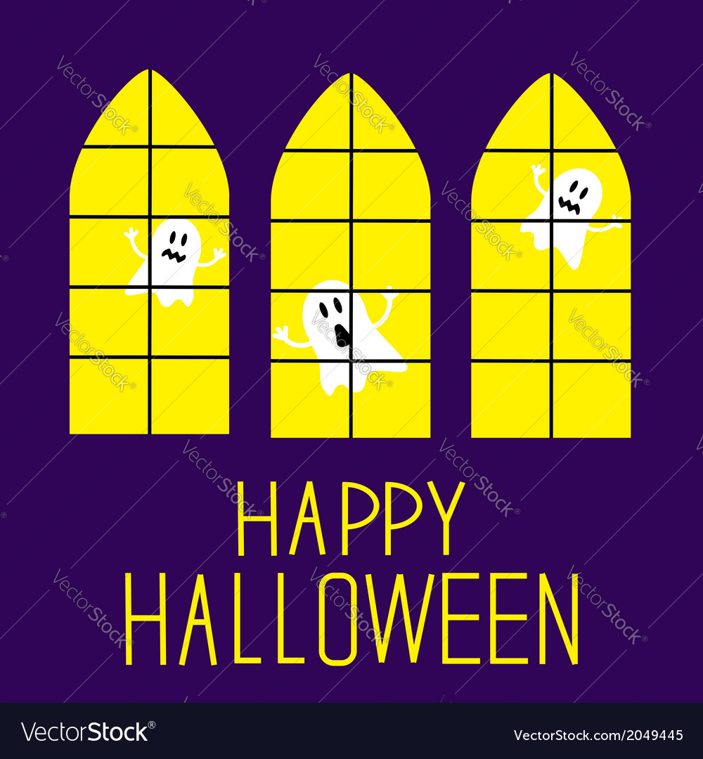 Windows with ghosts happy halloween card vector | Price: 1 Credit (USD $1)