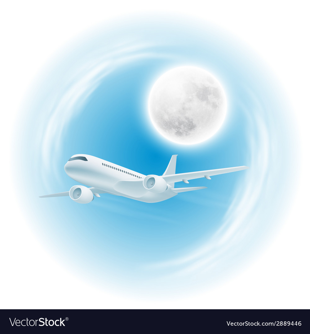 Airplane in sky with moon vector | Price: 1 Credit (USD $1)