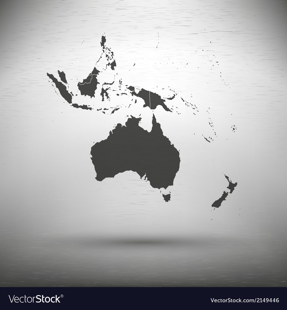 Australia map with the shadow on gray background vector | Price: 1 Credit (USD $1)