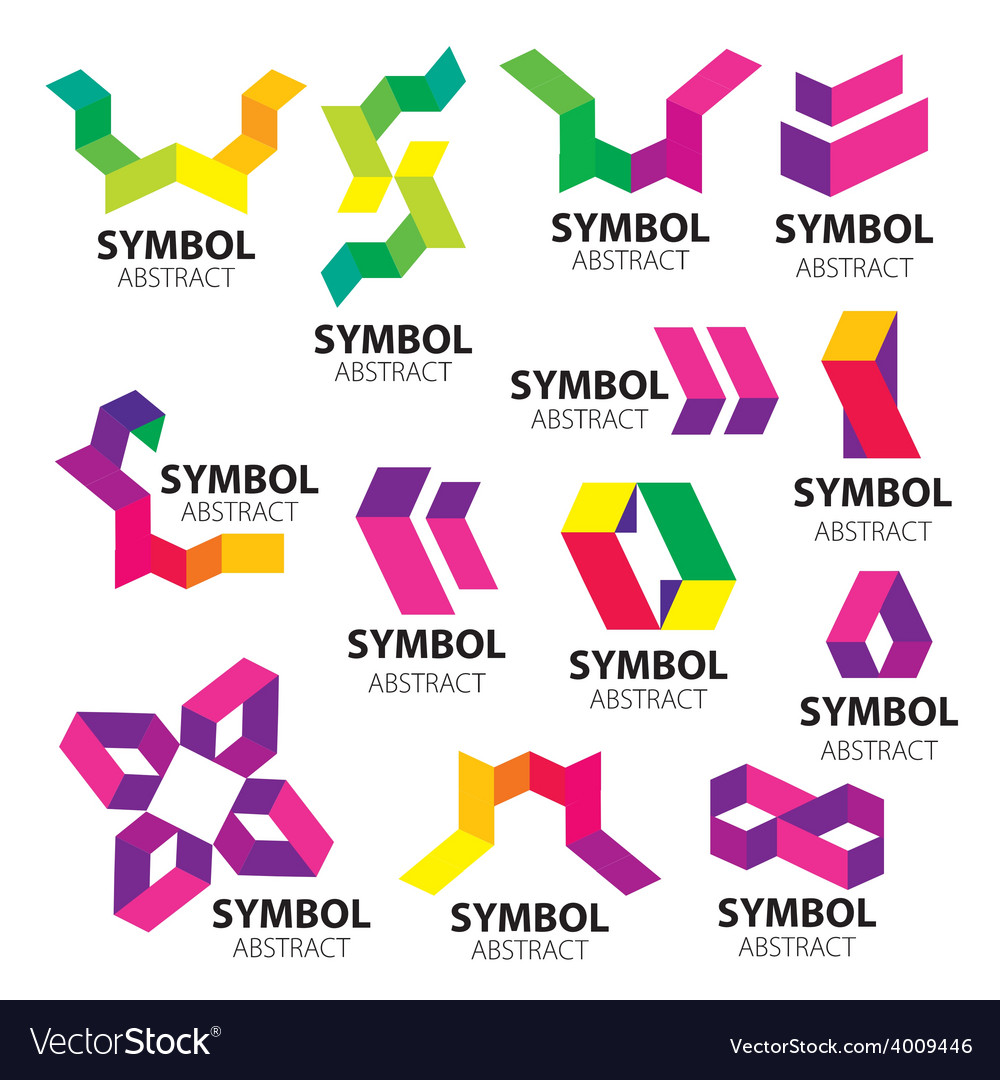 Big set of logos of geometric modules vector | Price: 1 Credit (USD $1)