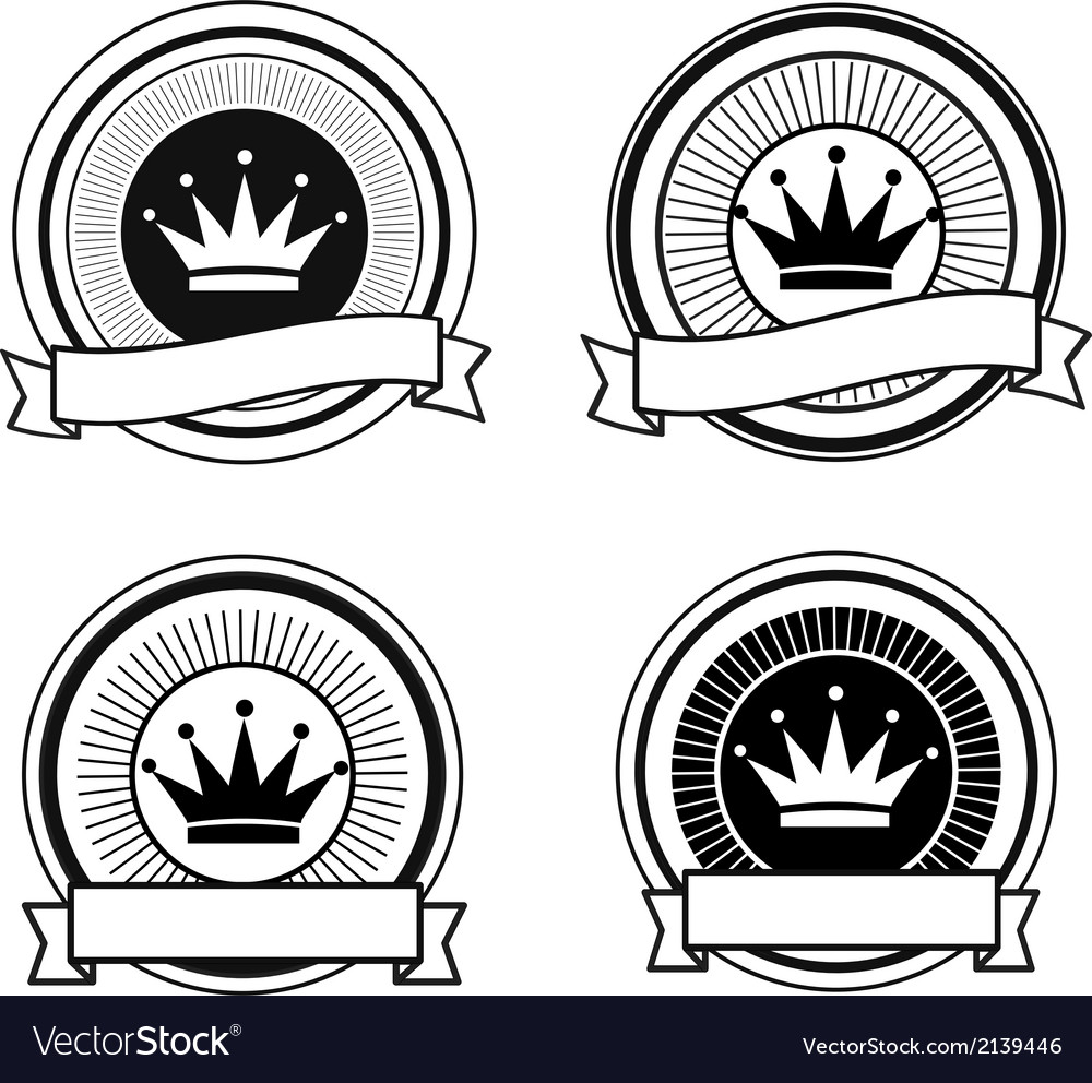 Black and white retro crown stamps vector | Price: 1 Credit (USD $1)