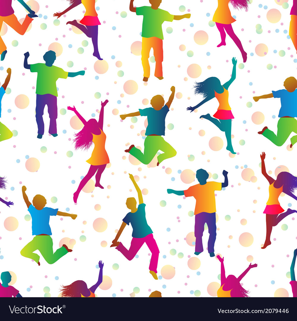 Bright seamless background with jumping people vector | Price: 1 Credit (USD $1)