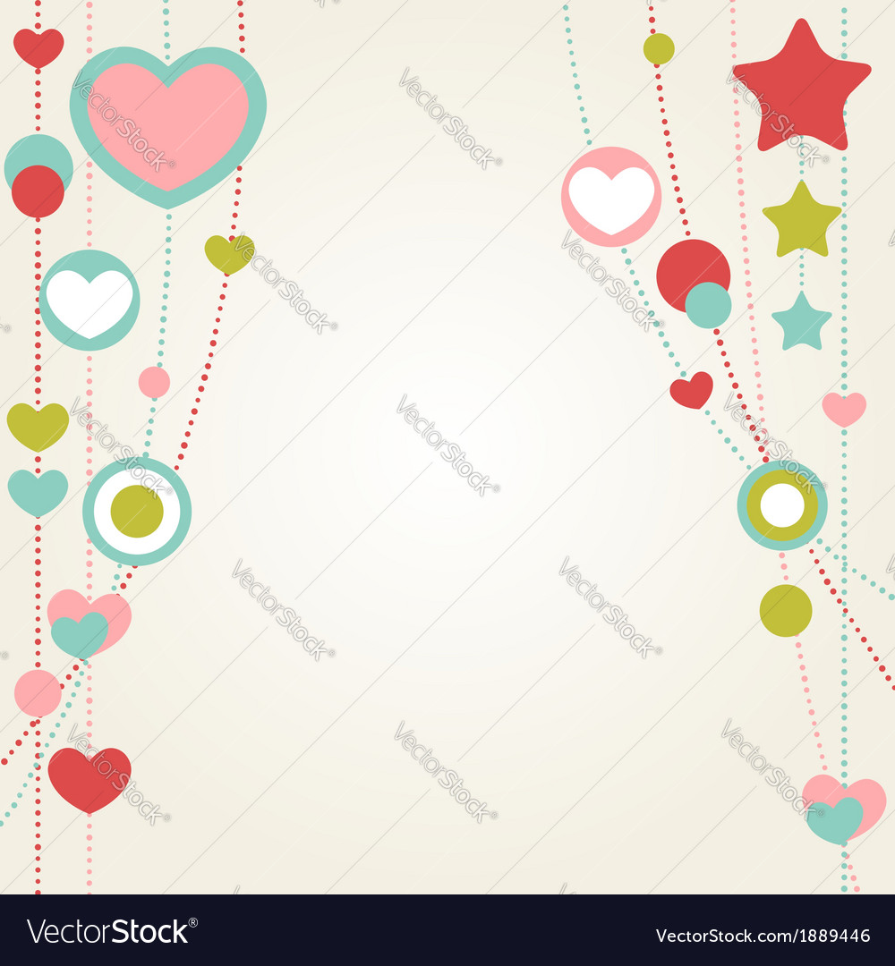 Cute congratulation card with border of hearts vector | Price: 1 Credit (USD $1)