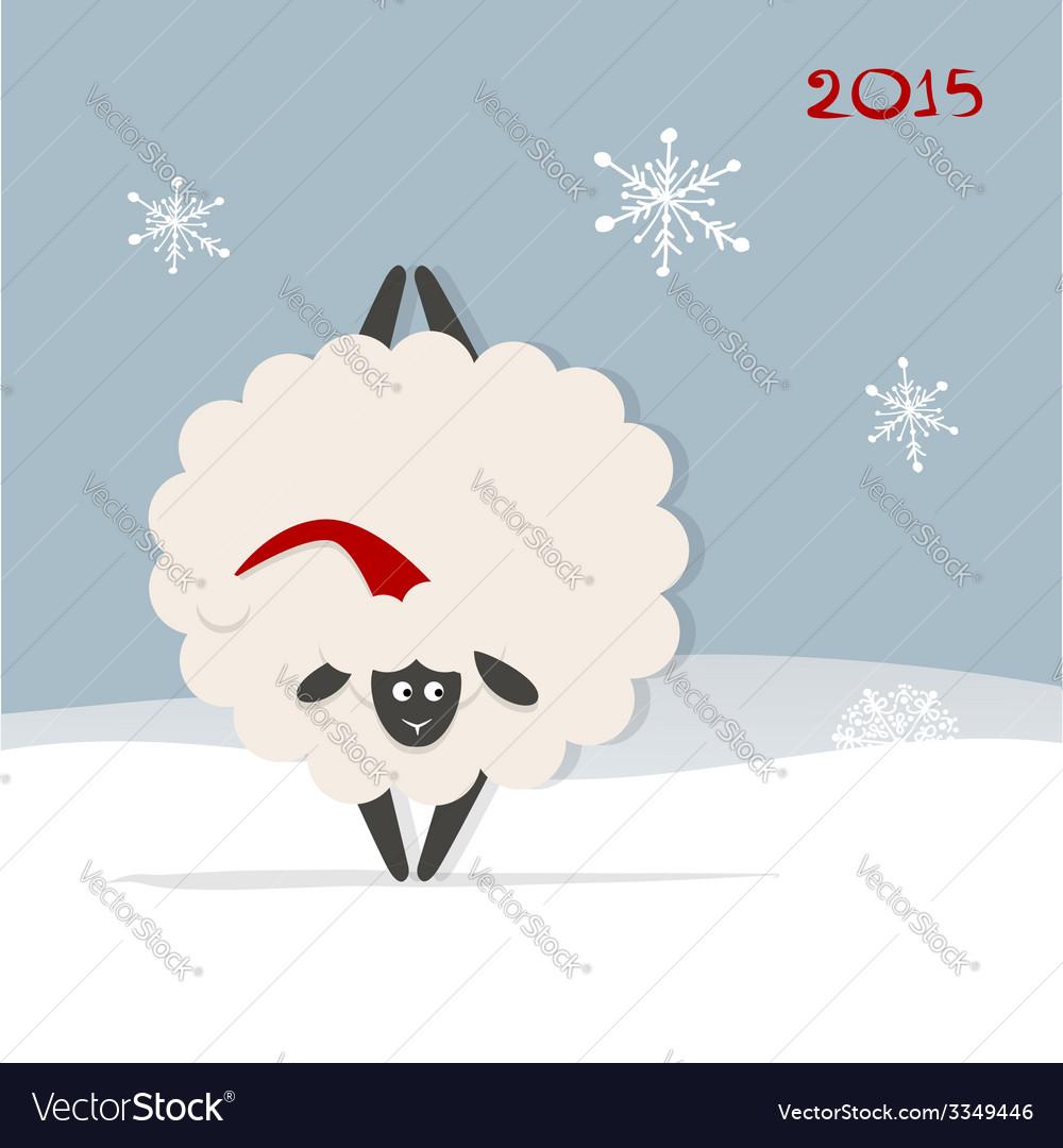 Funny sheep santa symbol of new year 2015 vector   Price: 1 Credit (USD $1)