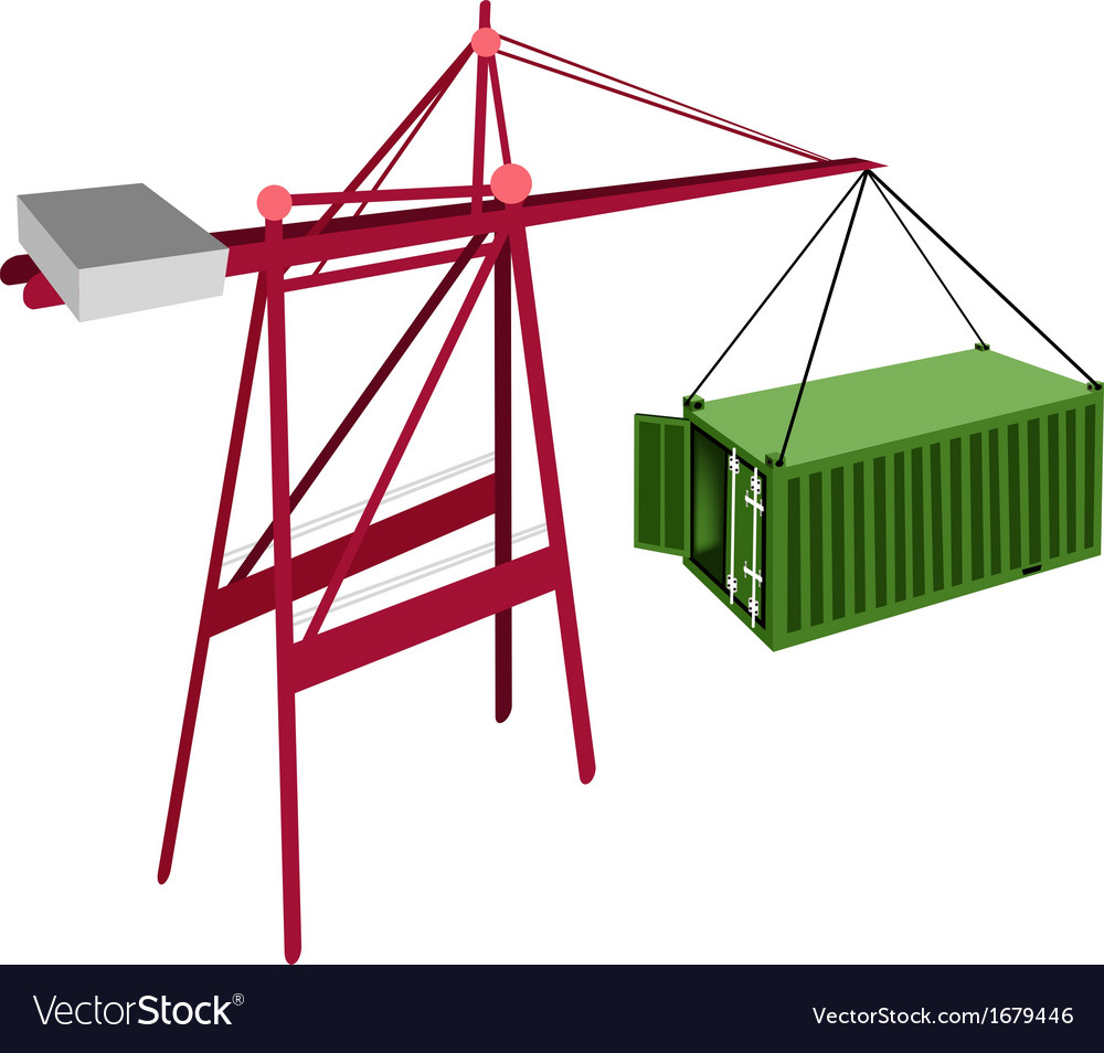 Green container being hoisted by a crane vector | Price: 1 Credit (USD $1)
