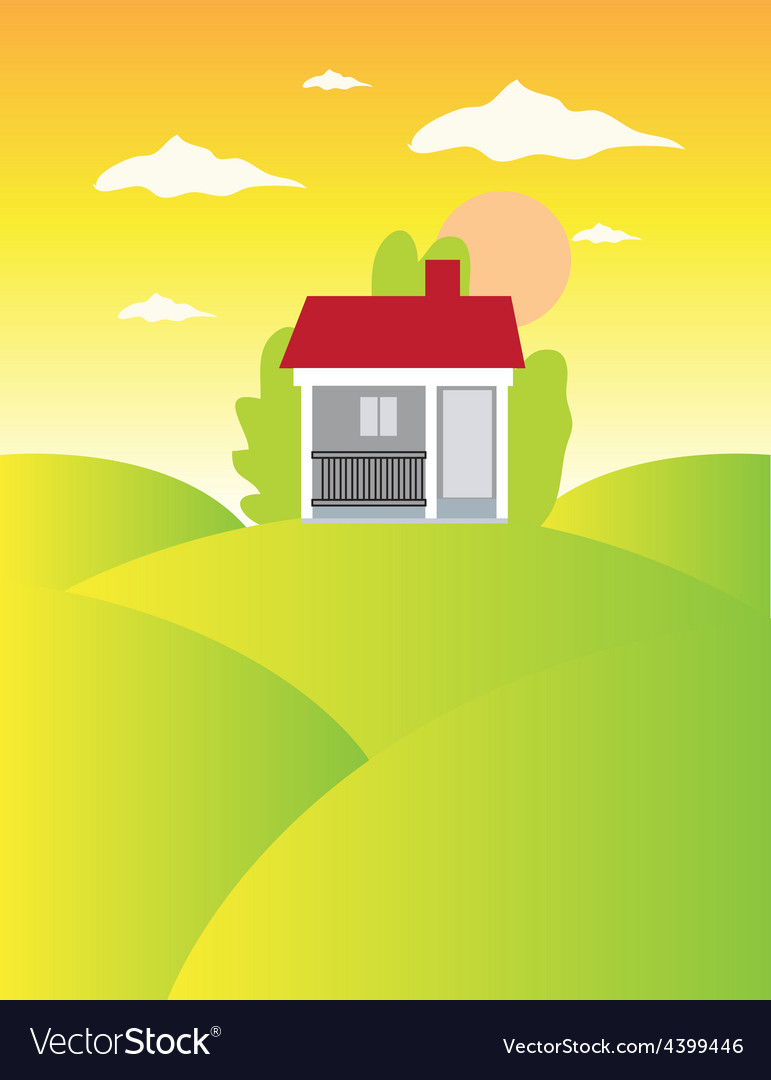 House on meadow landscape background vector | Price: 3 Credit (USD $3)