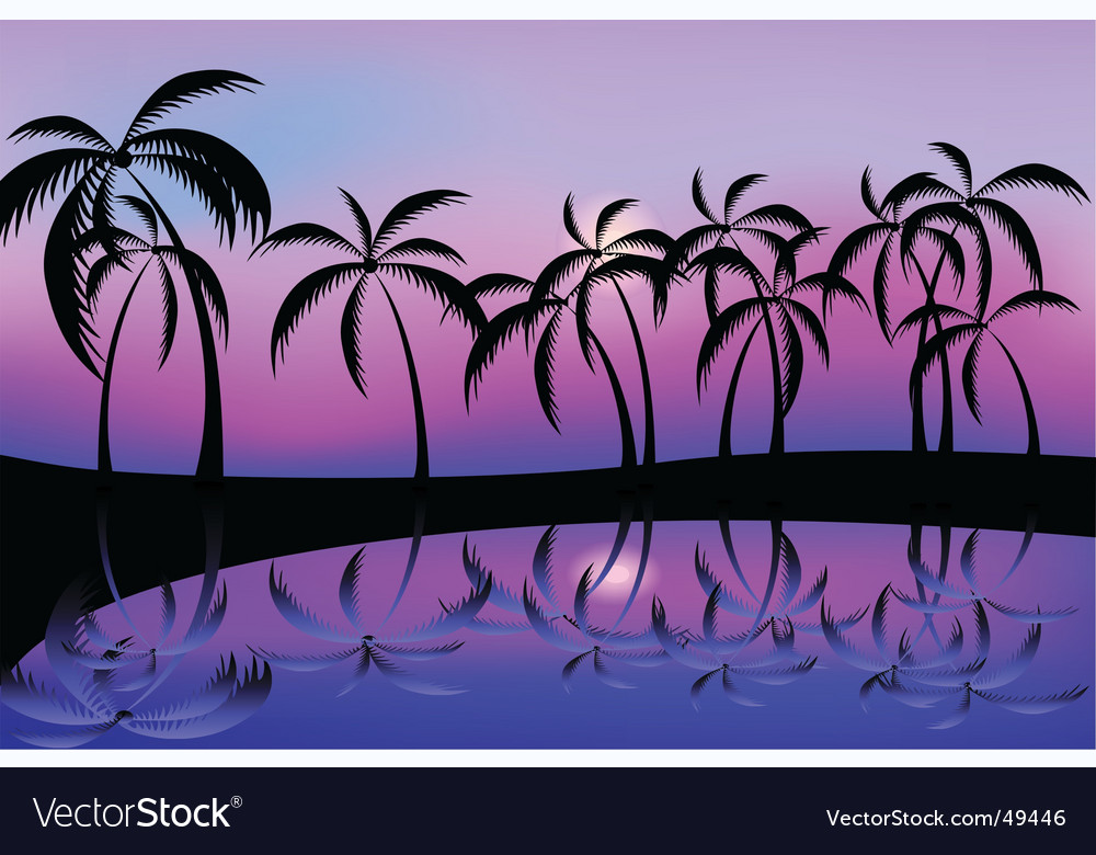 Palm tree night vector | Price: 1 Credit (USD $1)