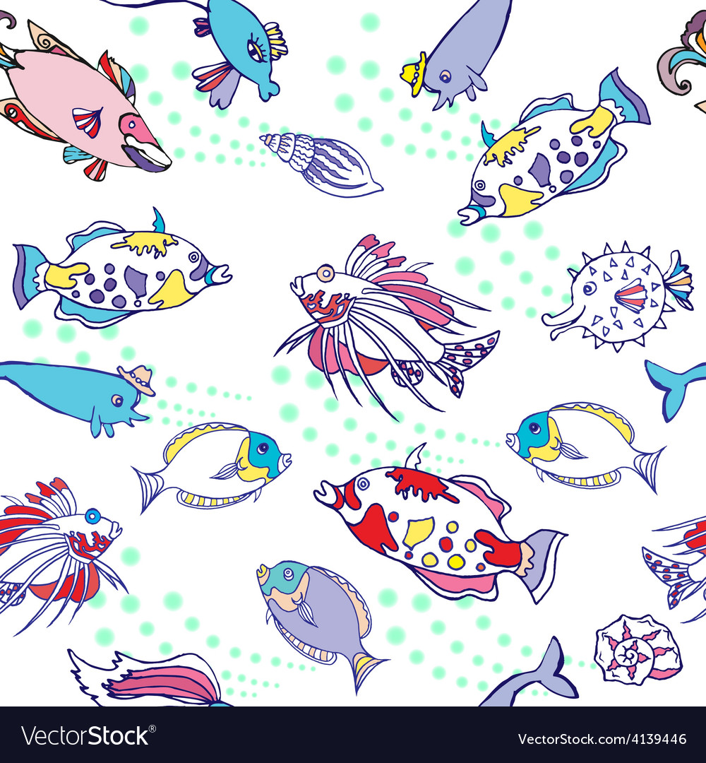 Seamless pattern with color fishes and bubbles vector | Price: 1 Credit (USD $1)