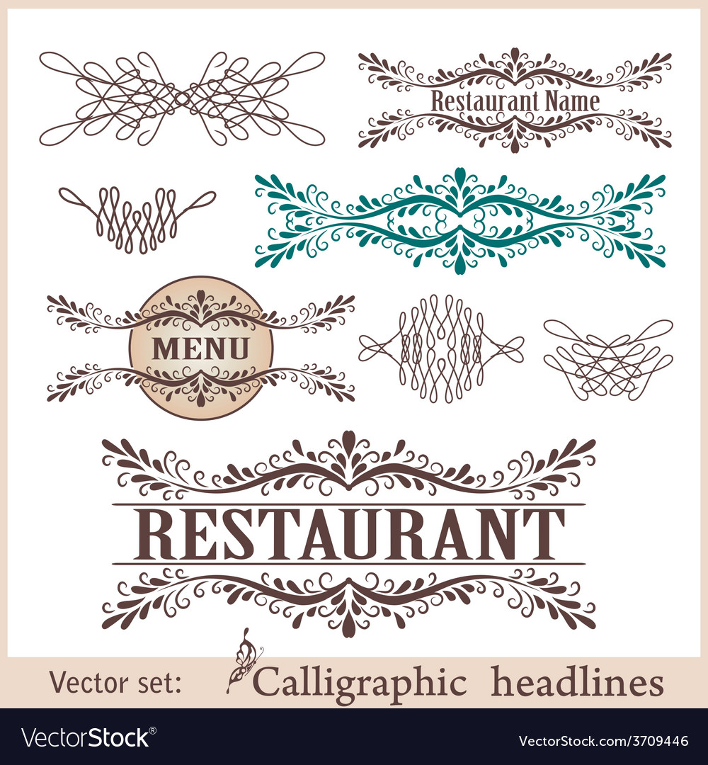 Set of vintage design elements vector | Price: 1 Credit (USD $1)