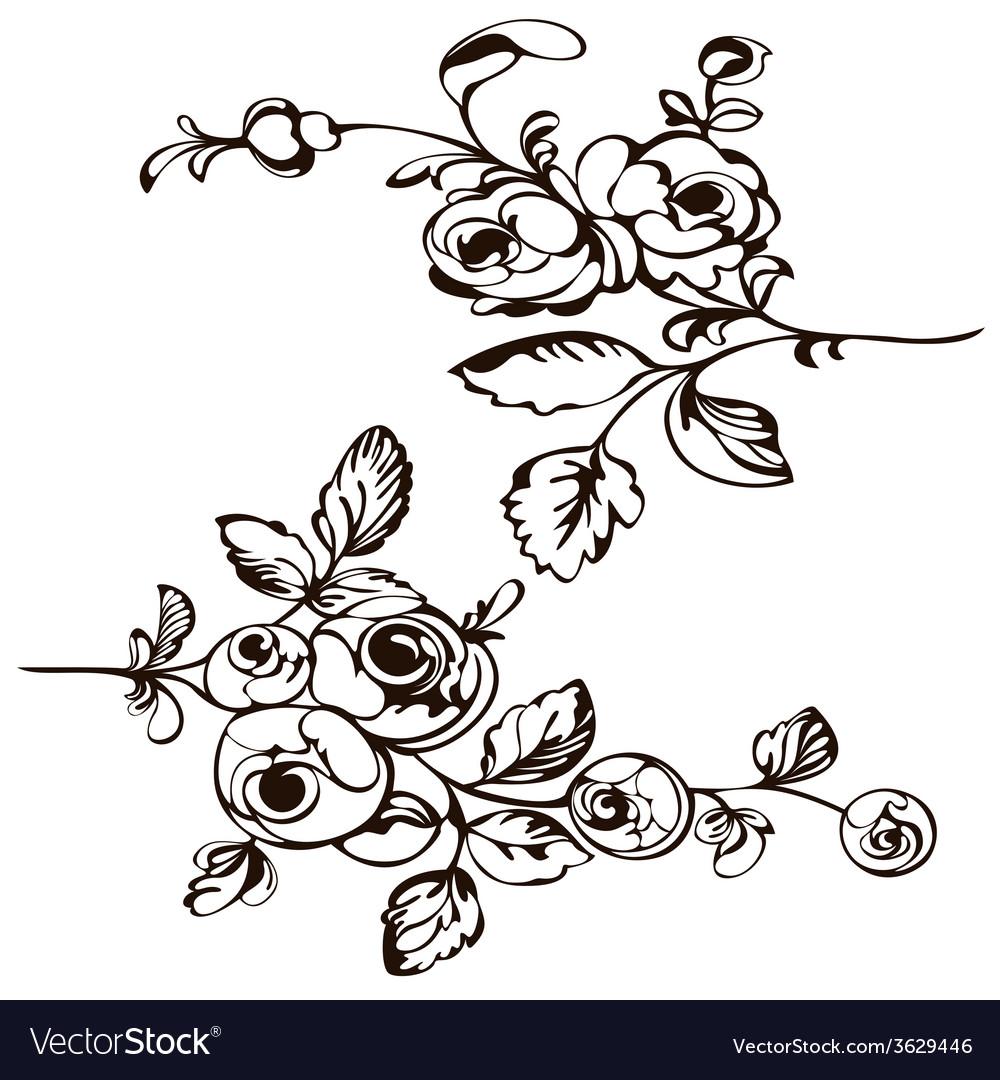 Silhouette rose black vector | Price: 1 Credit (USD $1)