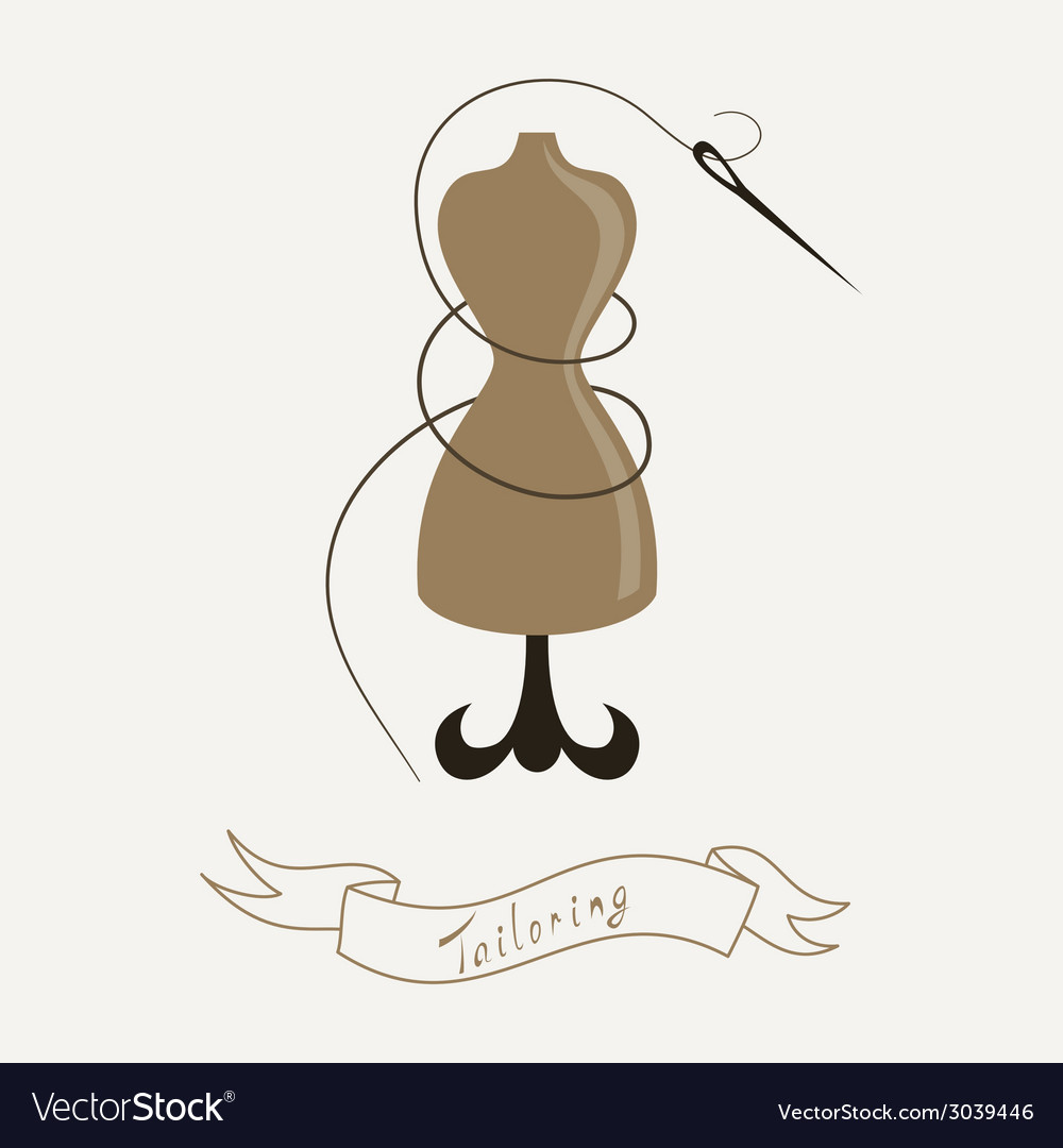 Tailoring emblem with mannequin or dummy and vector | Price: 1 Credit (USD $1)