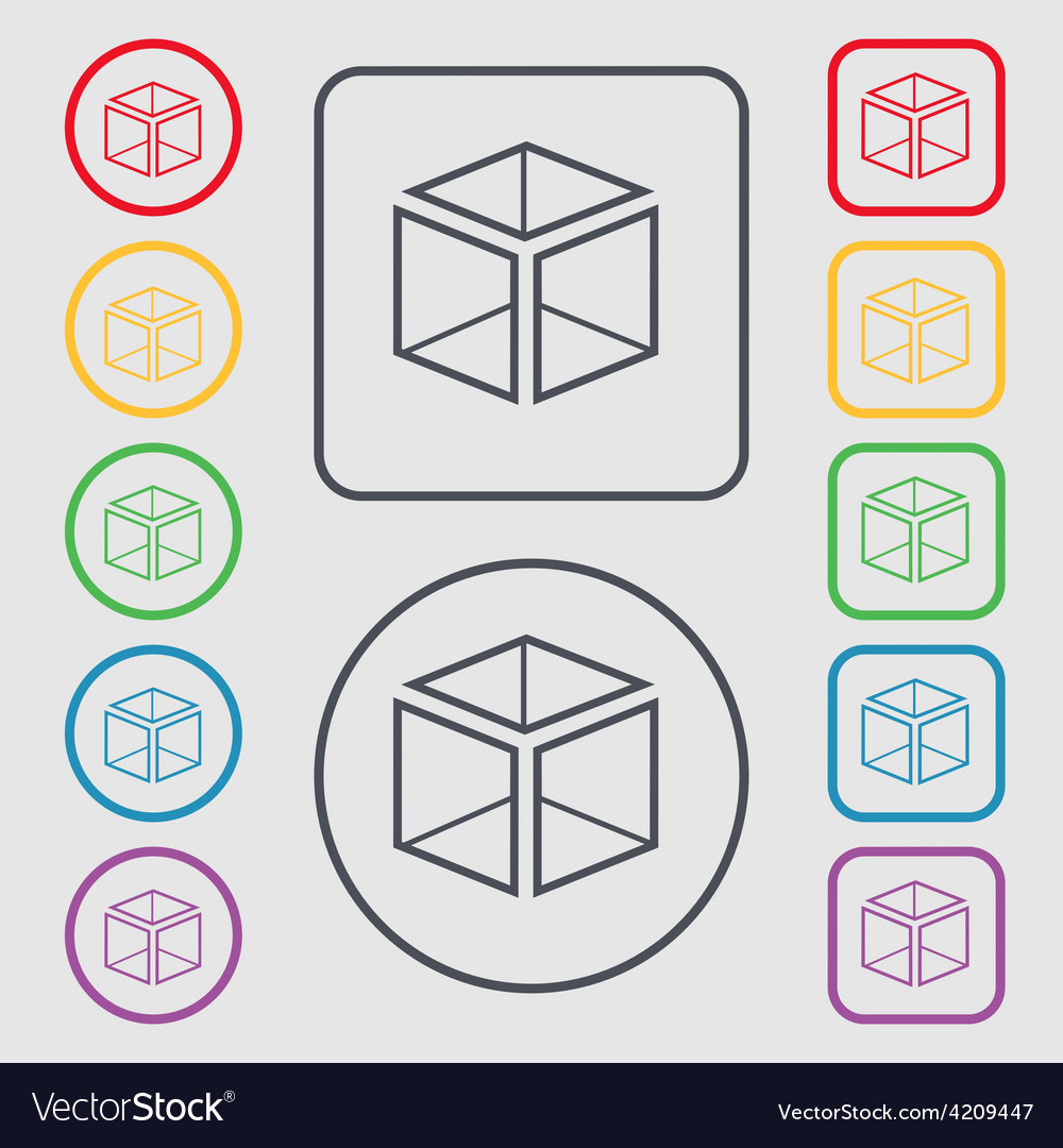 3d cube icon sign symbol on the round and square vector | Price: 1 Credit (USD $1)