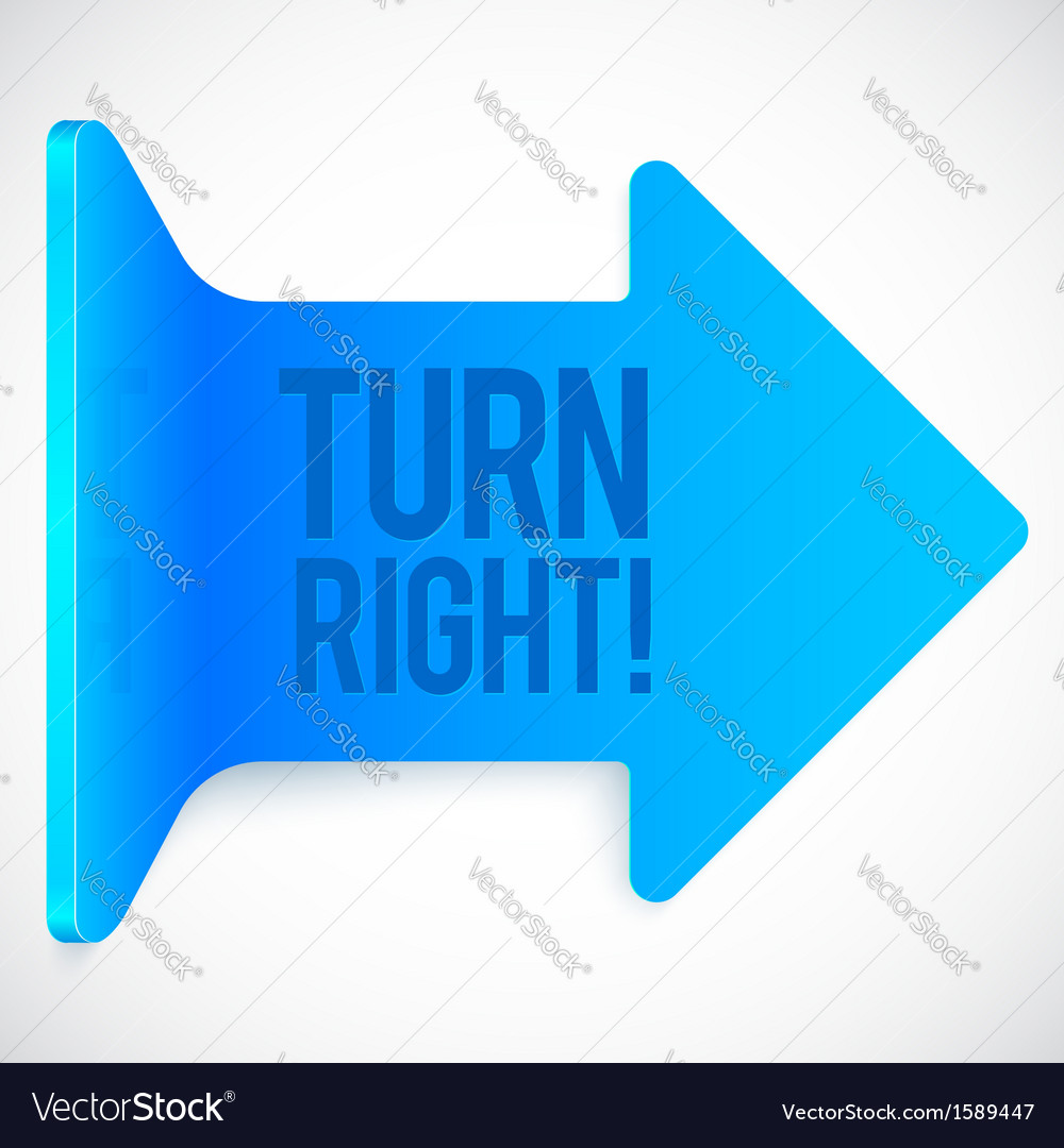 Blue realistic plastic turn right arrow vector | Price: 1 Credit (USD $1)
