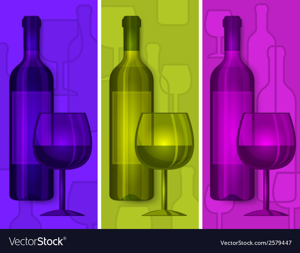 Bottles wine and glasses vector | Price: 1 Credit (USD $1)