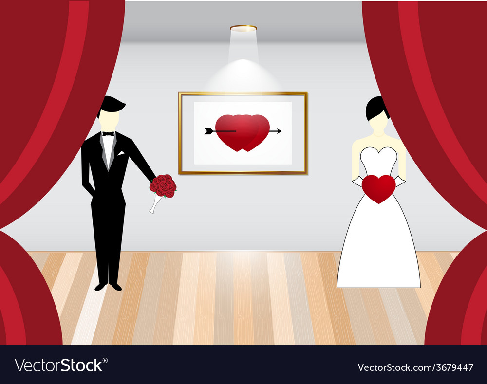 Bride and groom on stage vector | Price: 1 Credit (USD $1)
