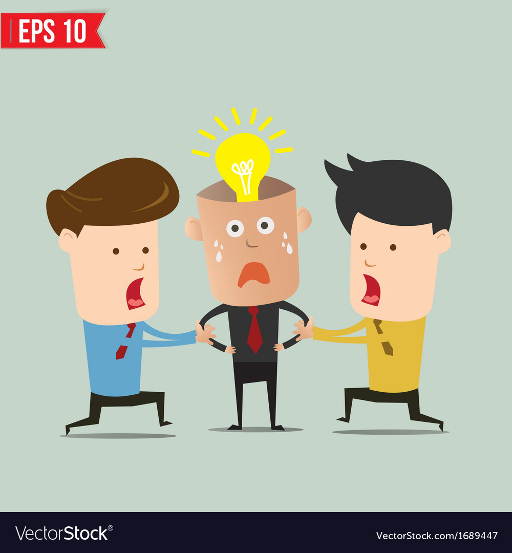 Cartoon business man snatching idea - - eps1 vector | Price: 1 Credit (USD $1)
