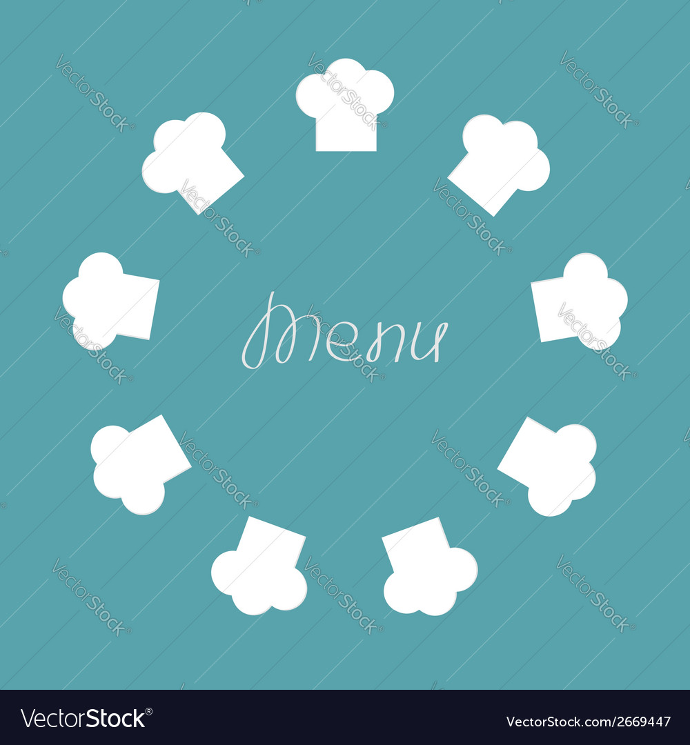 Chef hat round frame menu card flat design vector | Price: 1 Credit (USD $1)