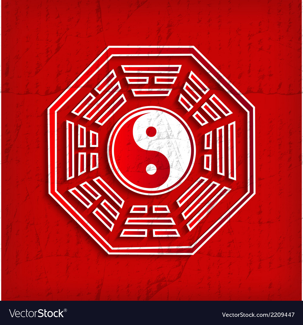 Chinese bagua symbol on red vector | Price: 1 Credit (USD $1)