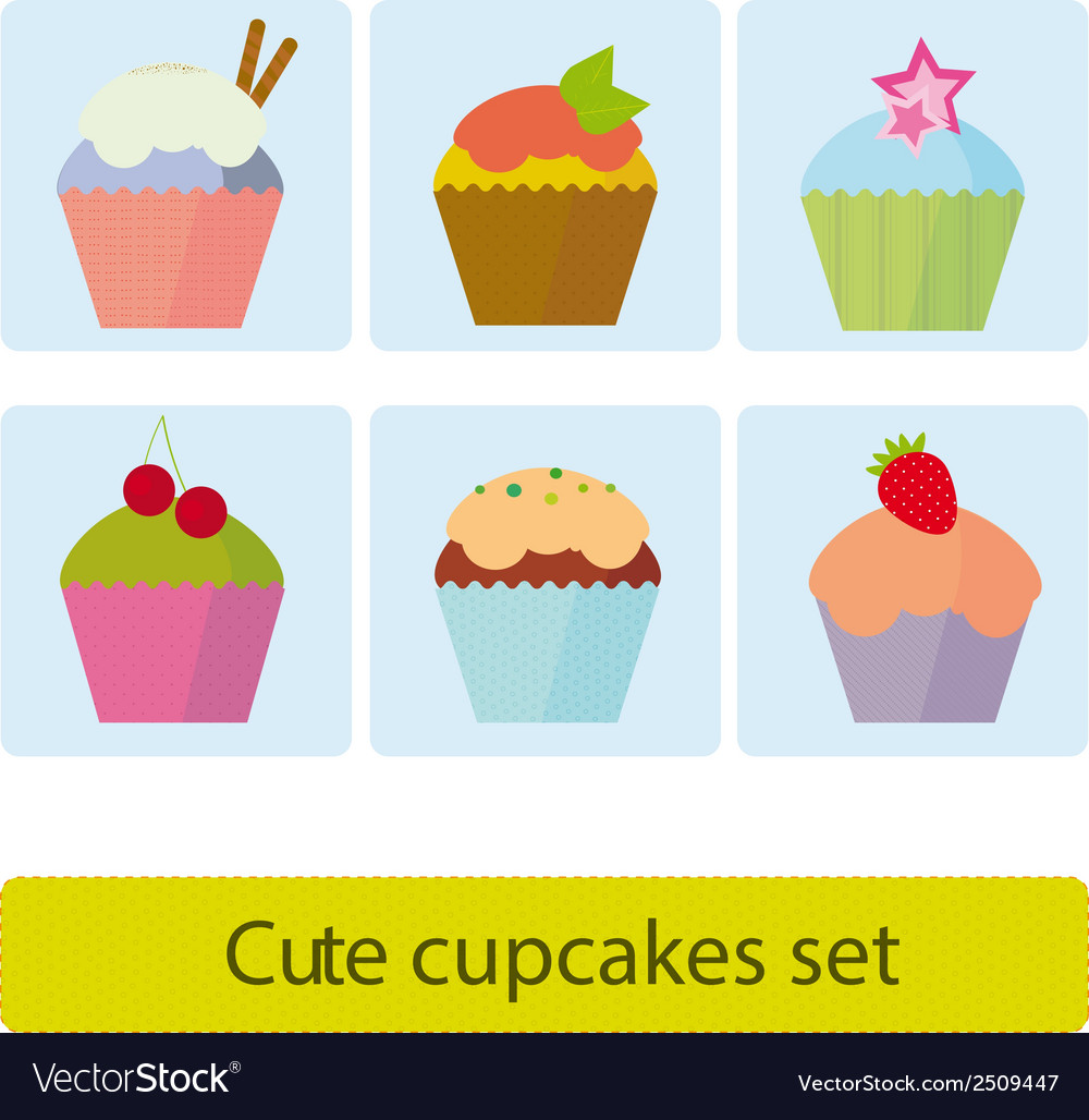 Cute cupcakes set vector | Price: 1 Credit (USD $1)