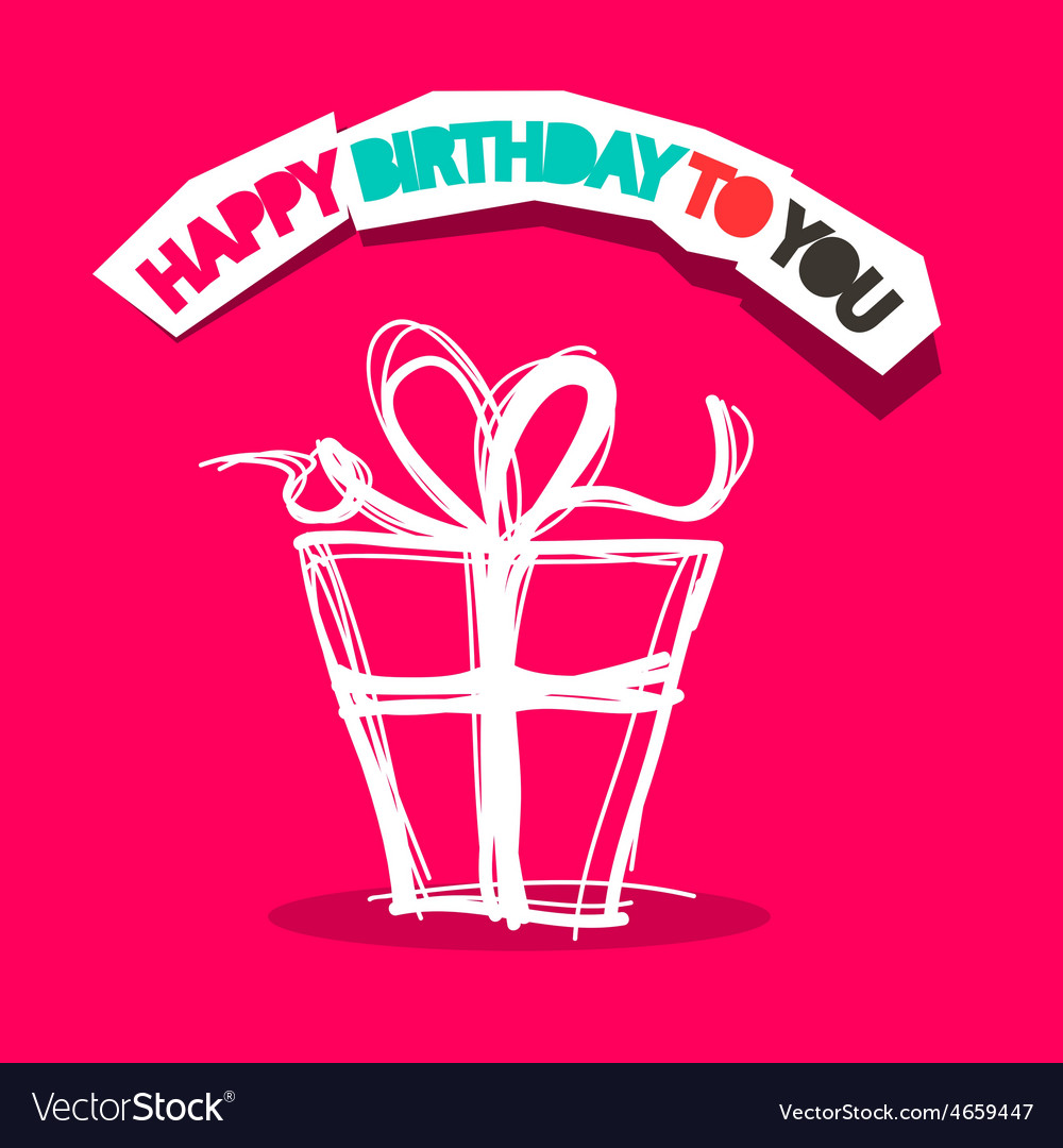 Happy birthday to you title with gift box outline vector | Price: 1 Credit (USD $1)