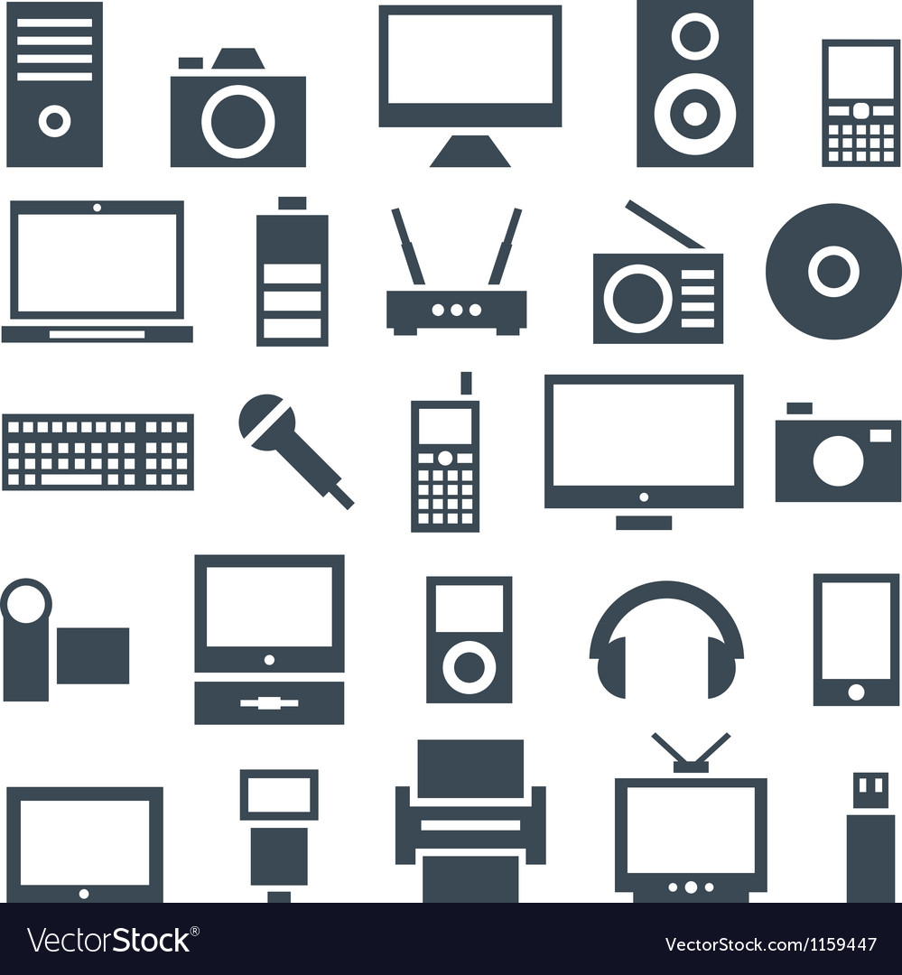 Icon set gadgets computer equipment and vector | Price: 1 Credit (USD $1)