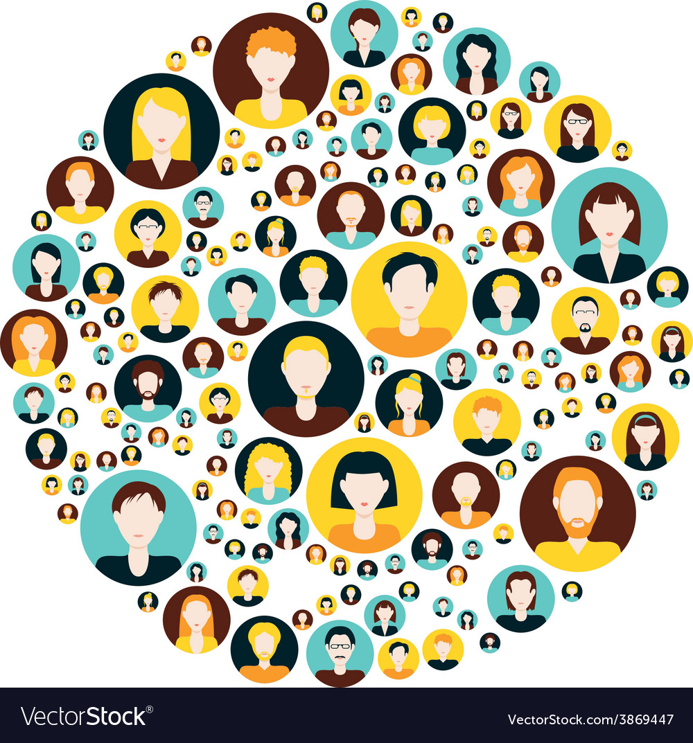 People icons in circle vector | Price: 1 Credit (USD $1)