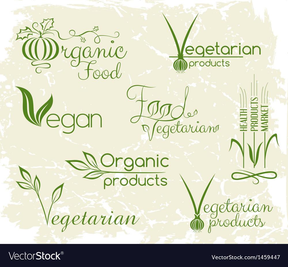 Set of vegan food logo vector | Price: 1 Credit (USD $1)