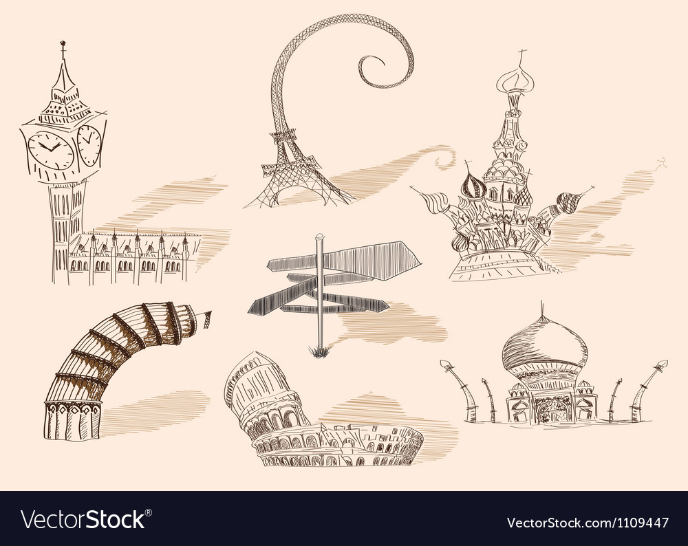 Travel original hand drawn collection caricature vector | Price: 1 Credit (USD $1)
