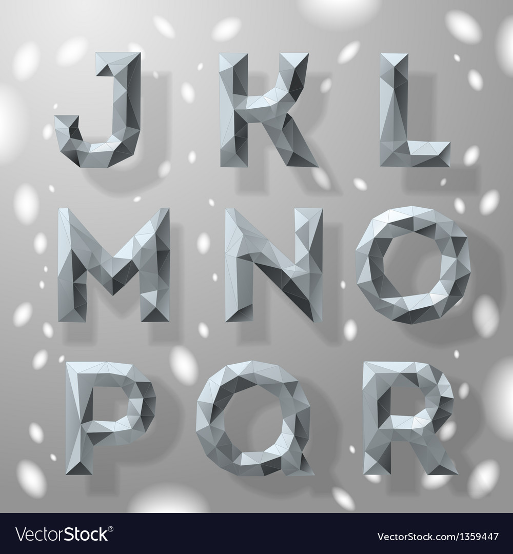 Trendy grey fractal geometric alphabet part 2 vector | Price: 1 Credit (USD $1)