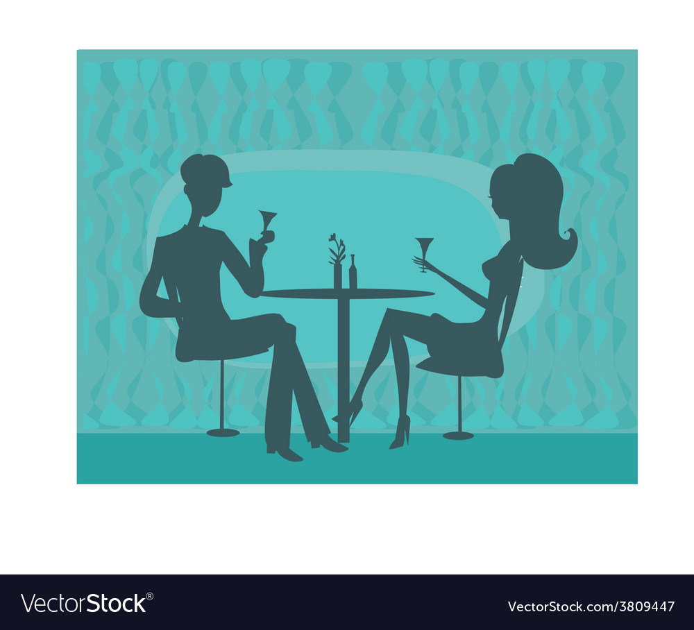Young couple silhouette flirt and drink champagne vector | Price: 1 Credit (USD $1)