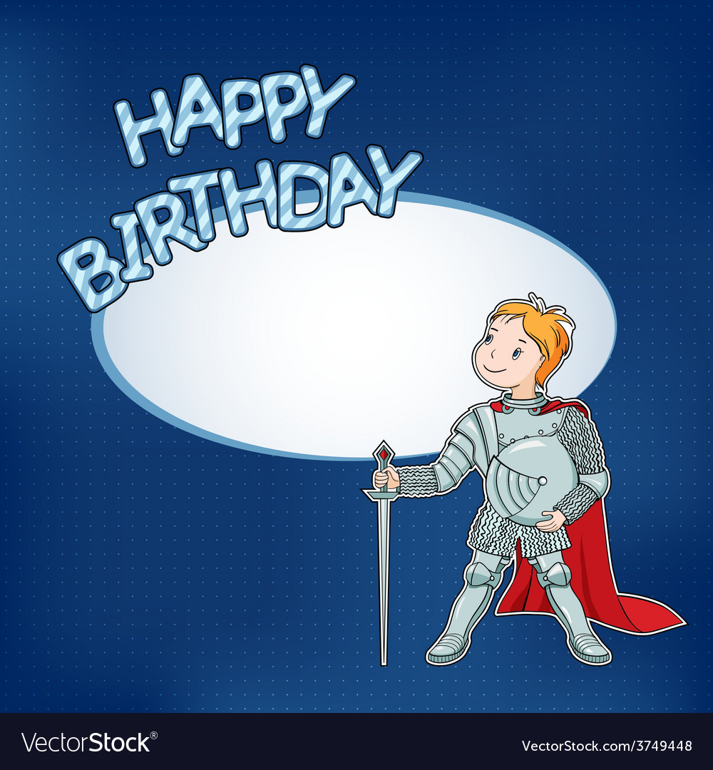 Birthday card with little knight vector | Price: 1 Credit (USD $1)