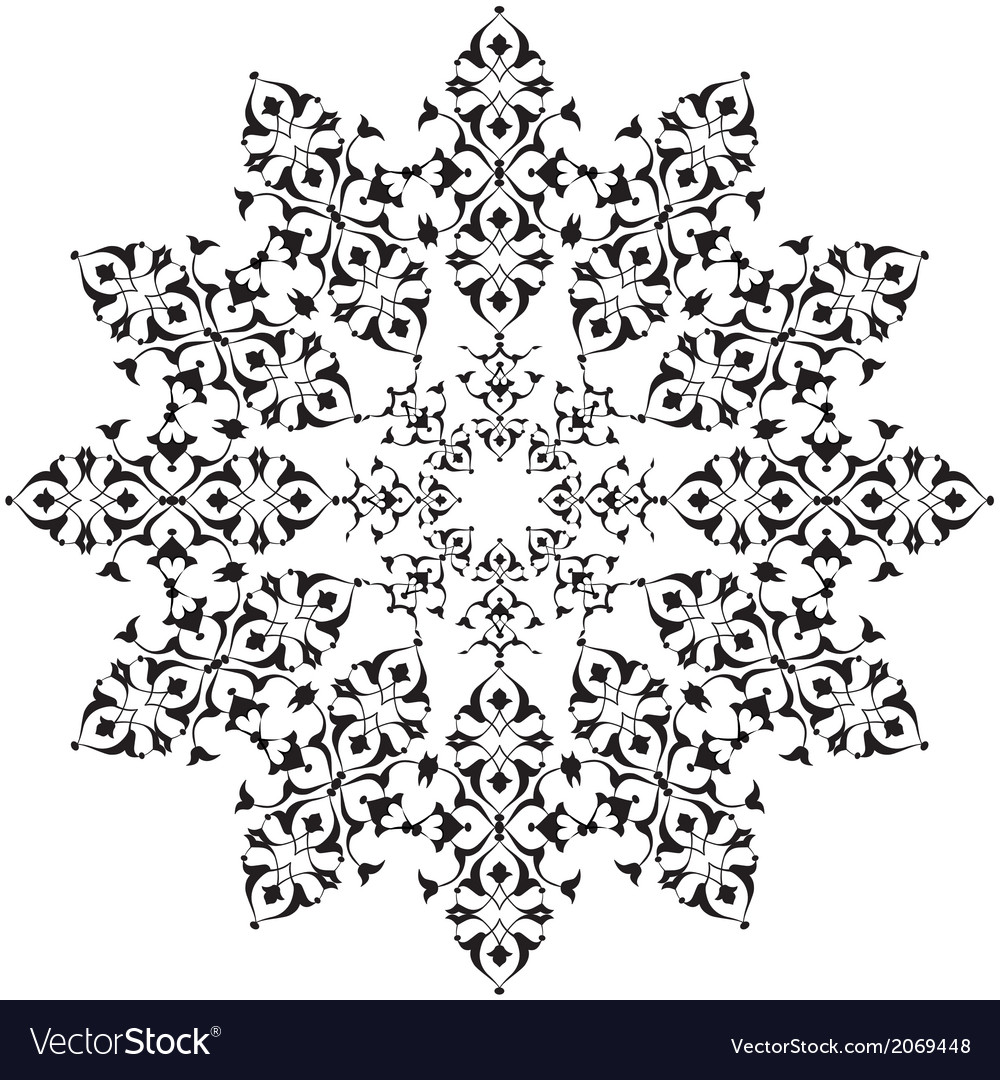 Black oriental ottoman design thirty five vector | Price: 1 Credit (USD $1)
