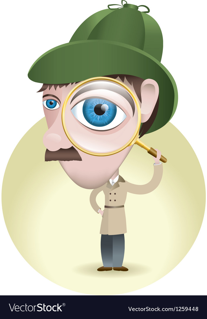 Detective with his magnifying glass vector | Price: 1 Credit (USD $1)