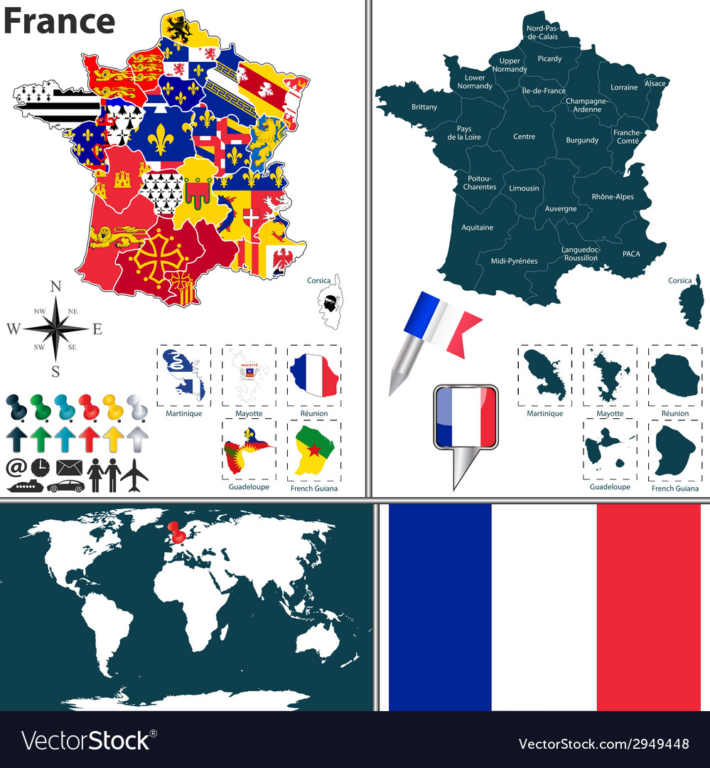 France map with regions and flags vector | Price: 1 Credit (USD $1)