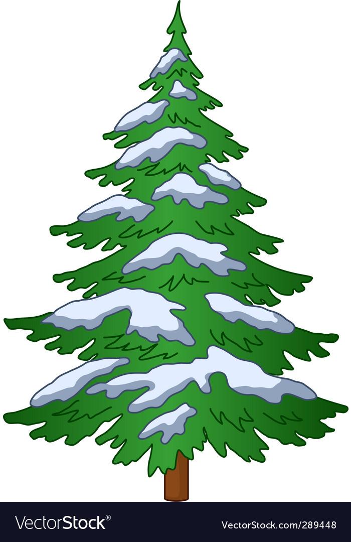 Fur tree under the snow vector | Price: 1 Credit (USD $1)