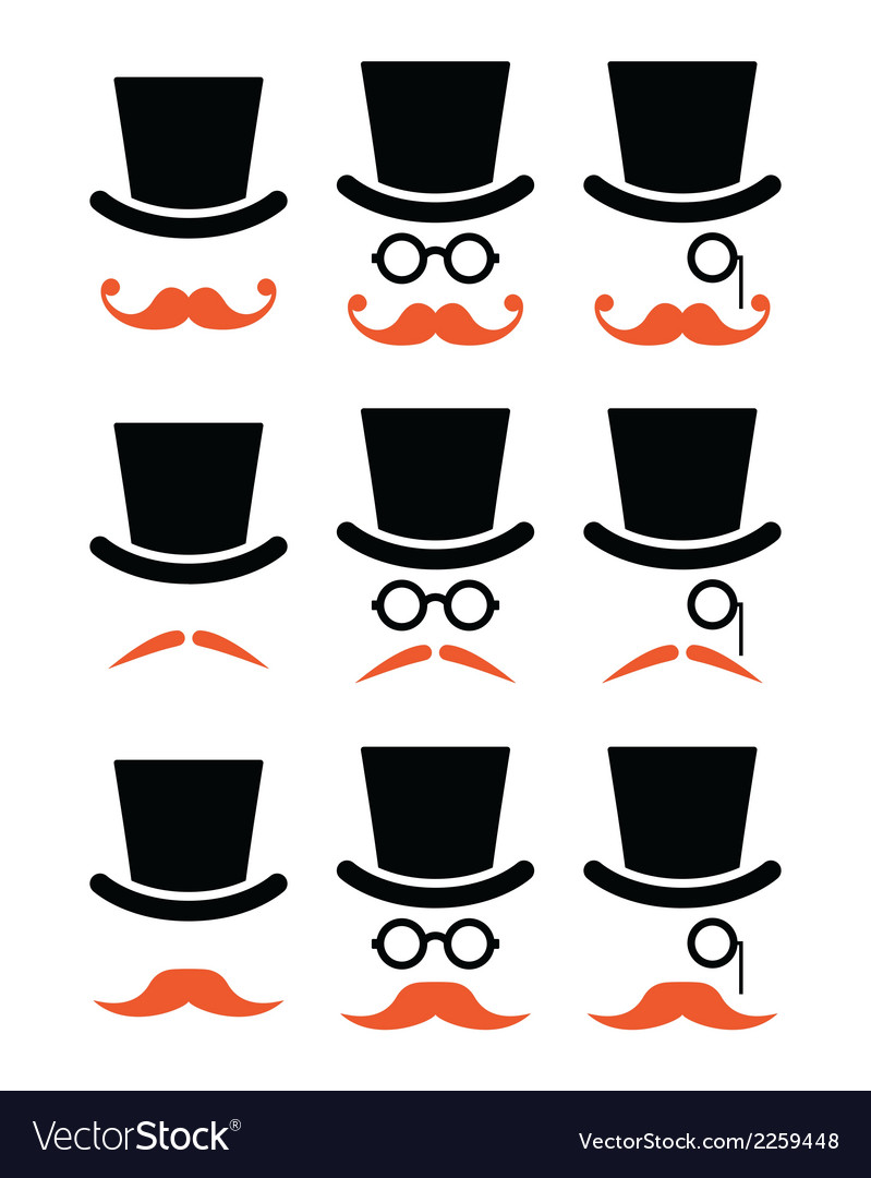 Ginger mustache or moustache with hat and glasses vector | Price: 1 Credit (USD $1)