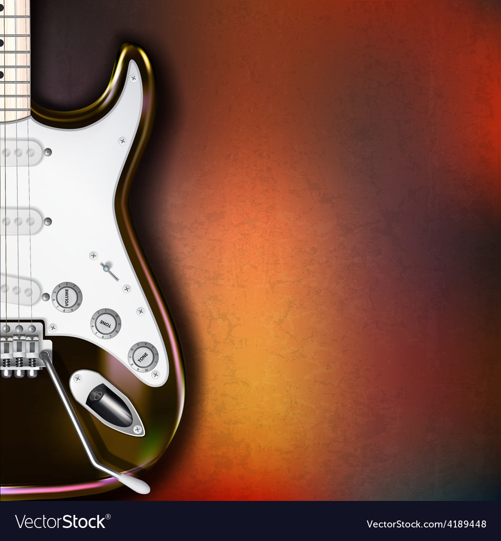 Grunge background with electric guitar on brown vector | Price: 1 Credit (USD $1)
