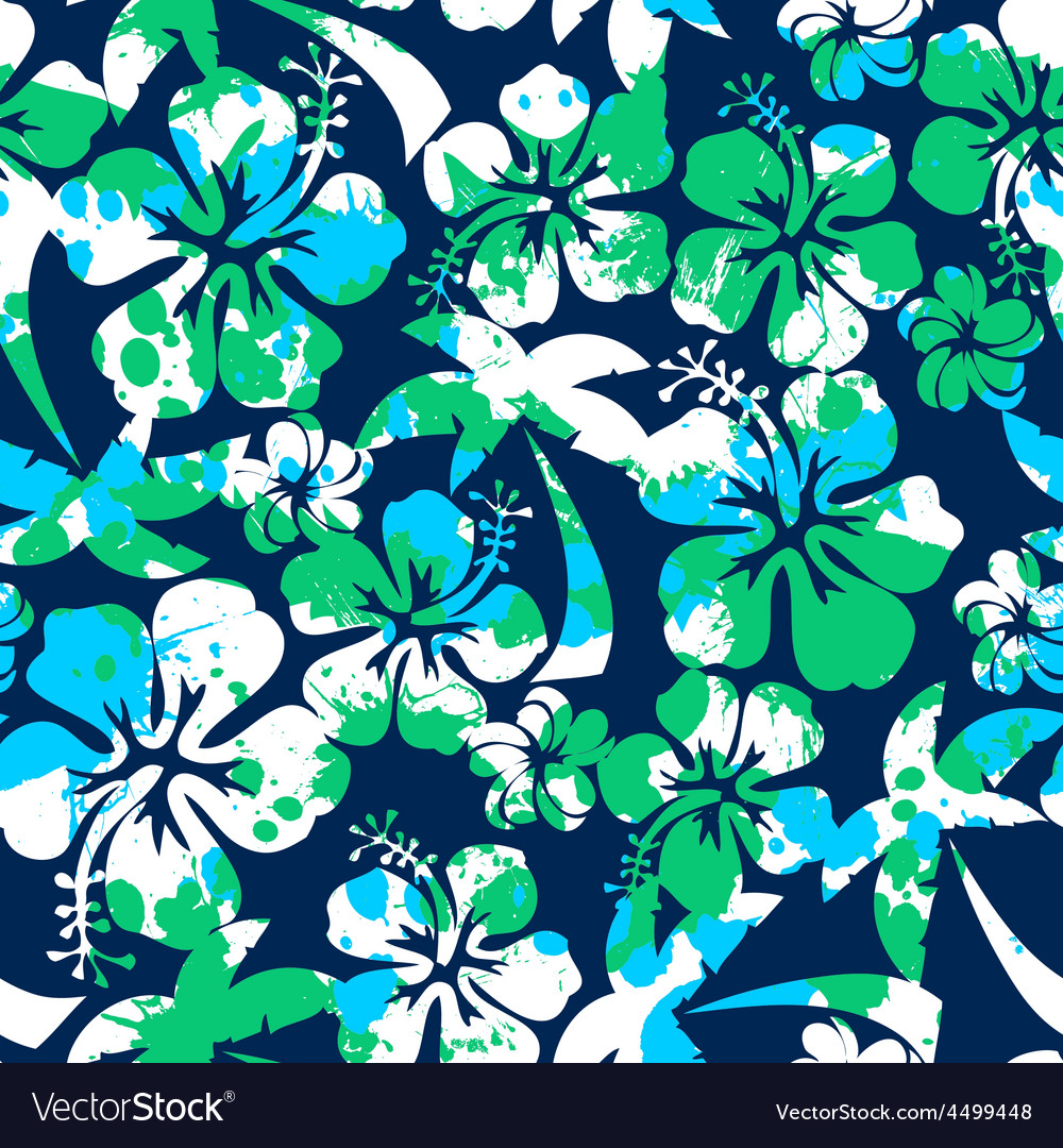Hibiscus and palm seamless pattern vector | Price: 1 Credit (USD $1)