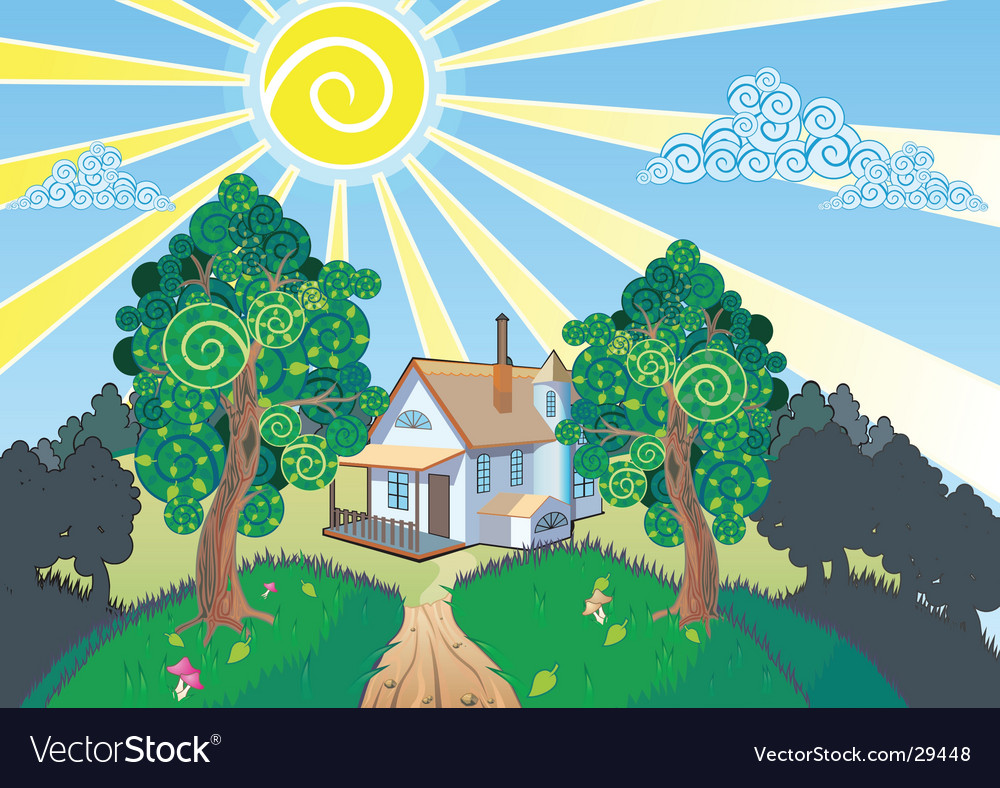 Landscape and cottage vector | Price: 3 Credit (USD $3)