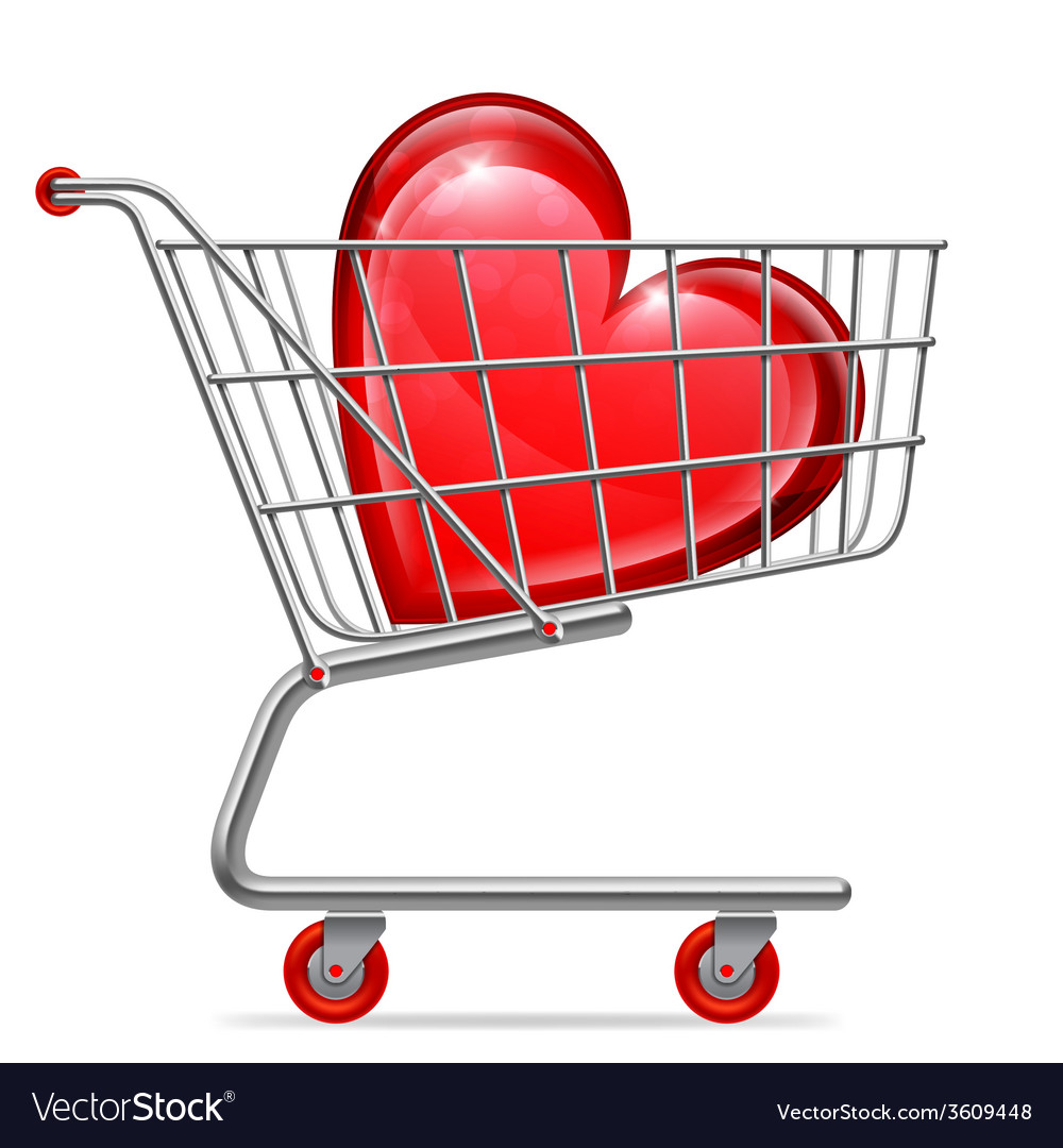 Love heart in shopping cart vector | Price: 1 Credit (USD $1)