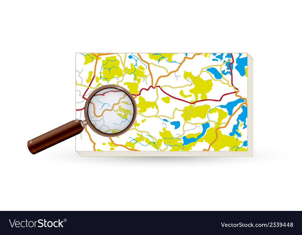Map and magnifying glass vector | Price: 1 Credit (USD $1)