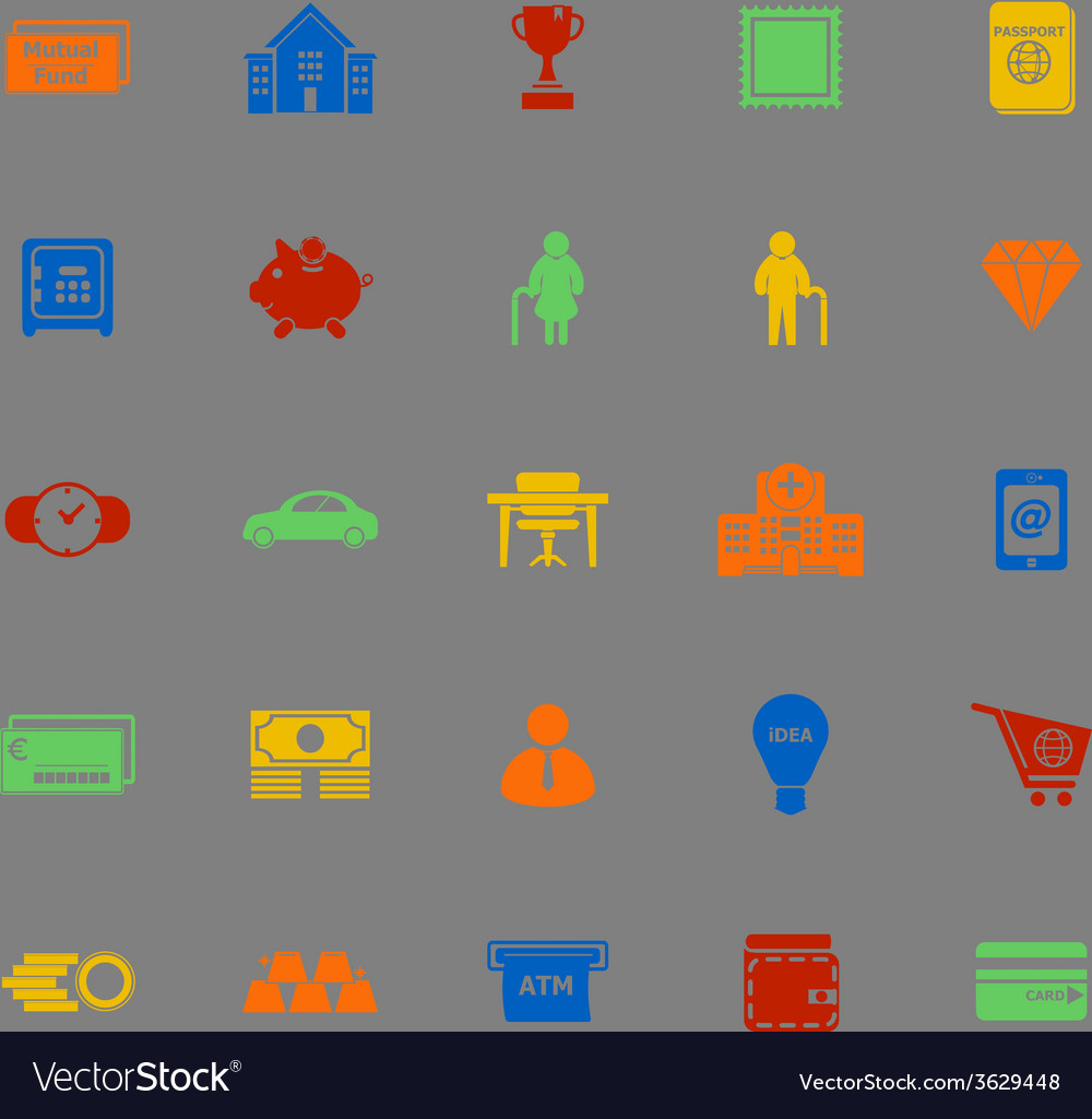 Personal financial color icons on gray background vector | Price: 1 Credit (USD $1)