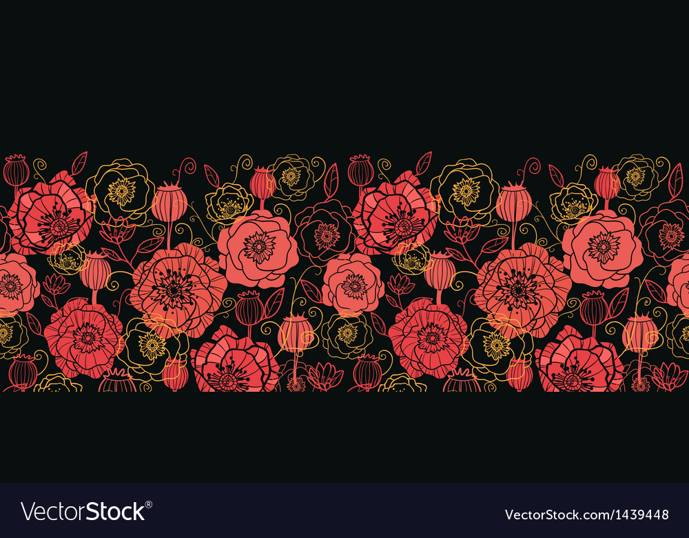 Red and black poppy flowers horizontal seamless vector | Price: 1 Credit (USD $1)