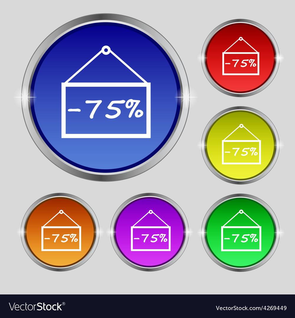 75 discount icon sign round symbol on bright vector | Price: 1 Credit (USD $1)