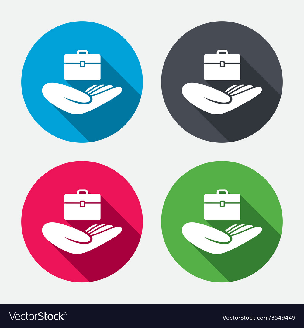 Baggage insurance sign hand holds luggage vector | Price: 1 Credit (USD $1)