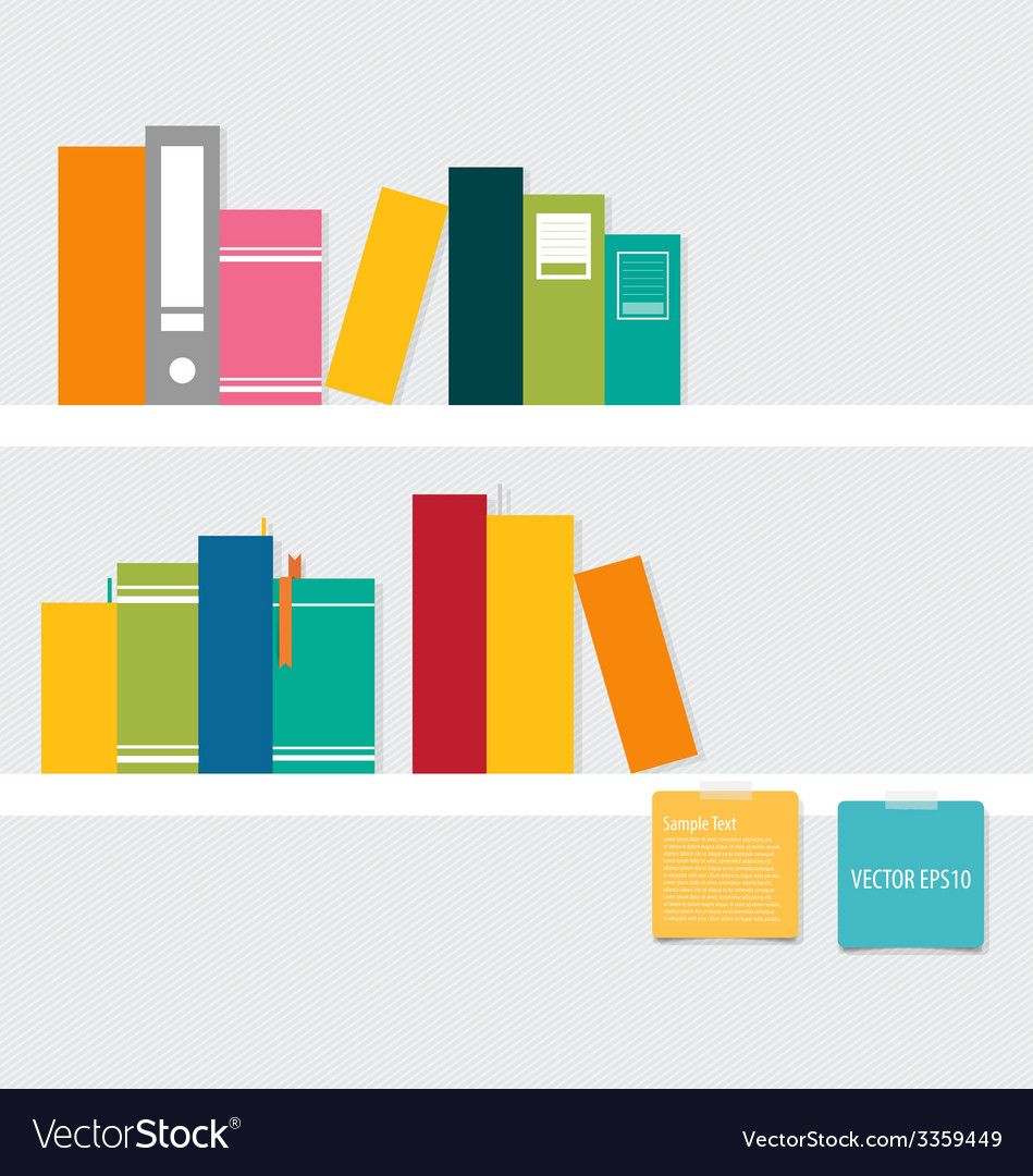 Books on shelf with notepapers vector | Price: 1 Credit (USD $1)